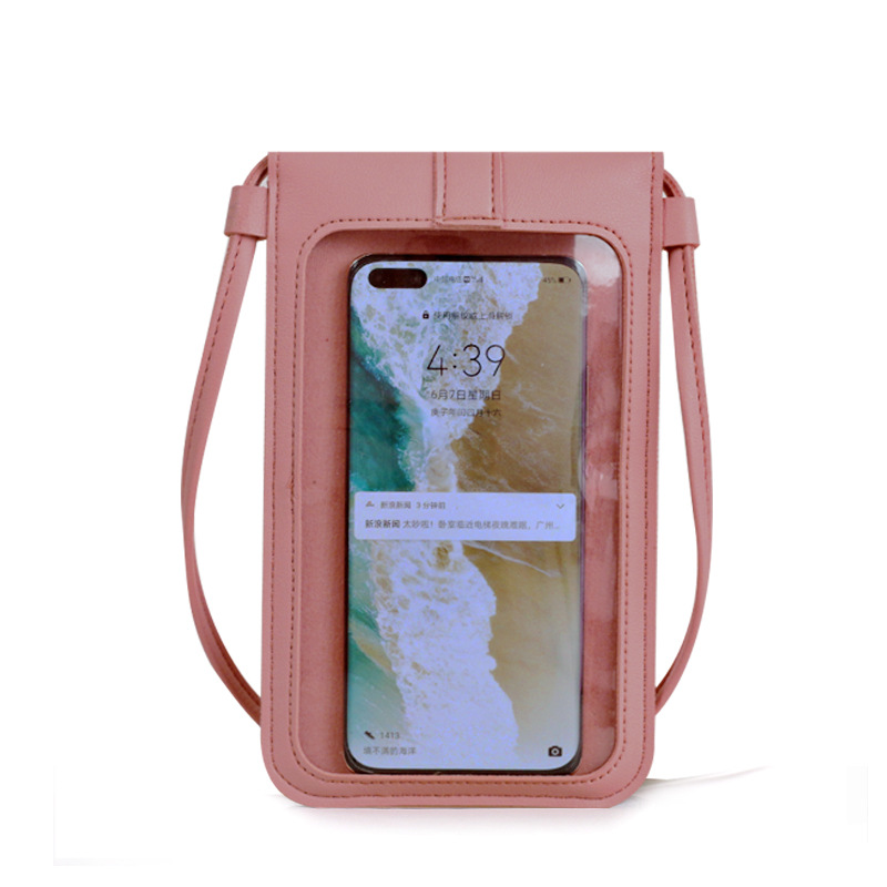 Boshiho wholesale bestseller buckle small wallet women's pu leather crossbody bag touch screen mobile phone wallet