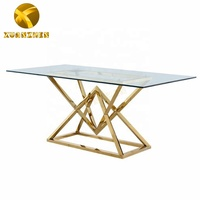 Home furniture set new design modern dining room set stainless steel dinning table glass dining table made in China