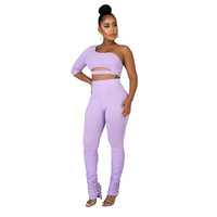 Customized polyester sexy women 2 pc set stacked pants and crop top tight tops and pants