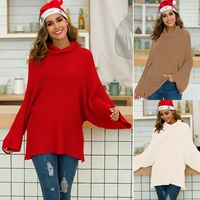 Korean style girl stylish long neck sweater 2019 winter new year wholesale red sweater