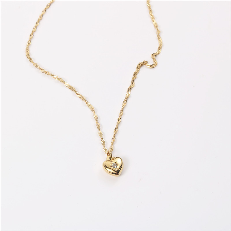18K Gold Plated Heart Pendant Necklace Trendy Jewelry Wholesale