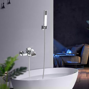 Chrome Waterfall Bathtub Faucet Wall Mount Waterfall Hot Cold Water Mixer Tap Bath Shower Faucet Tap
