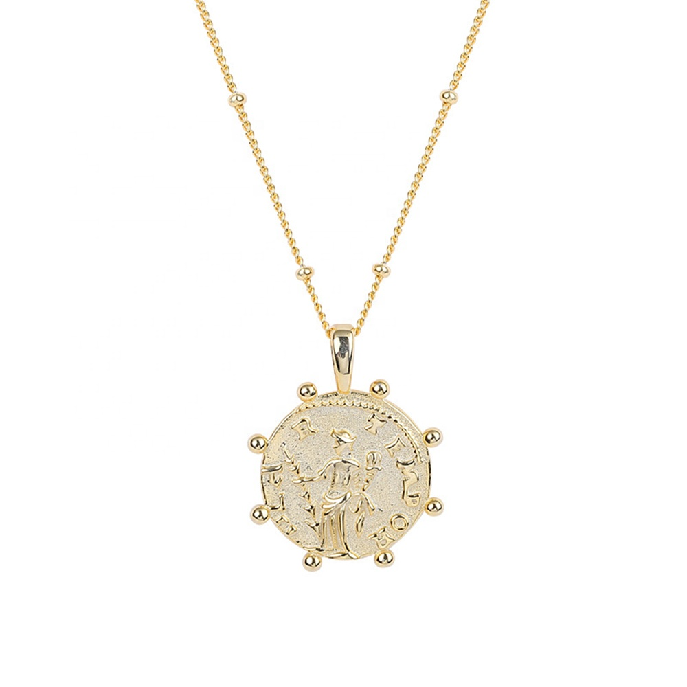 Women Gold Pure Coin Pendant Jewelry 925 Sterling Silver Necklace