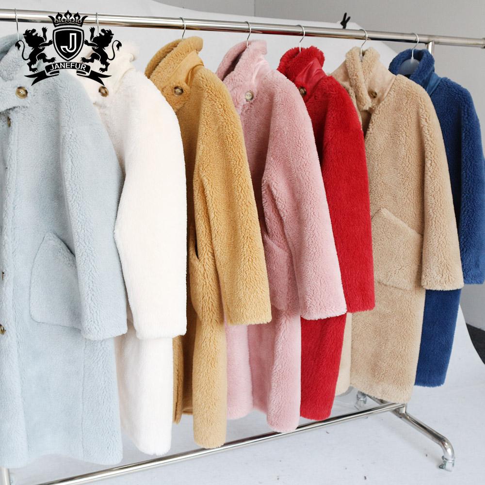 Anna style fashion winter sheep shearing fur coat women wool jacket
