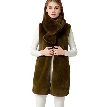 Women's 100% Rabbit Fur Vest Army Green Sleeveless Outerwear Waistcoats with Real Fur Collar Scarf