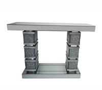 Hot Selling Living Room Furniture Mirrored Console Table Crushed Diamond Hallway Table