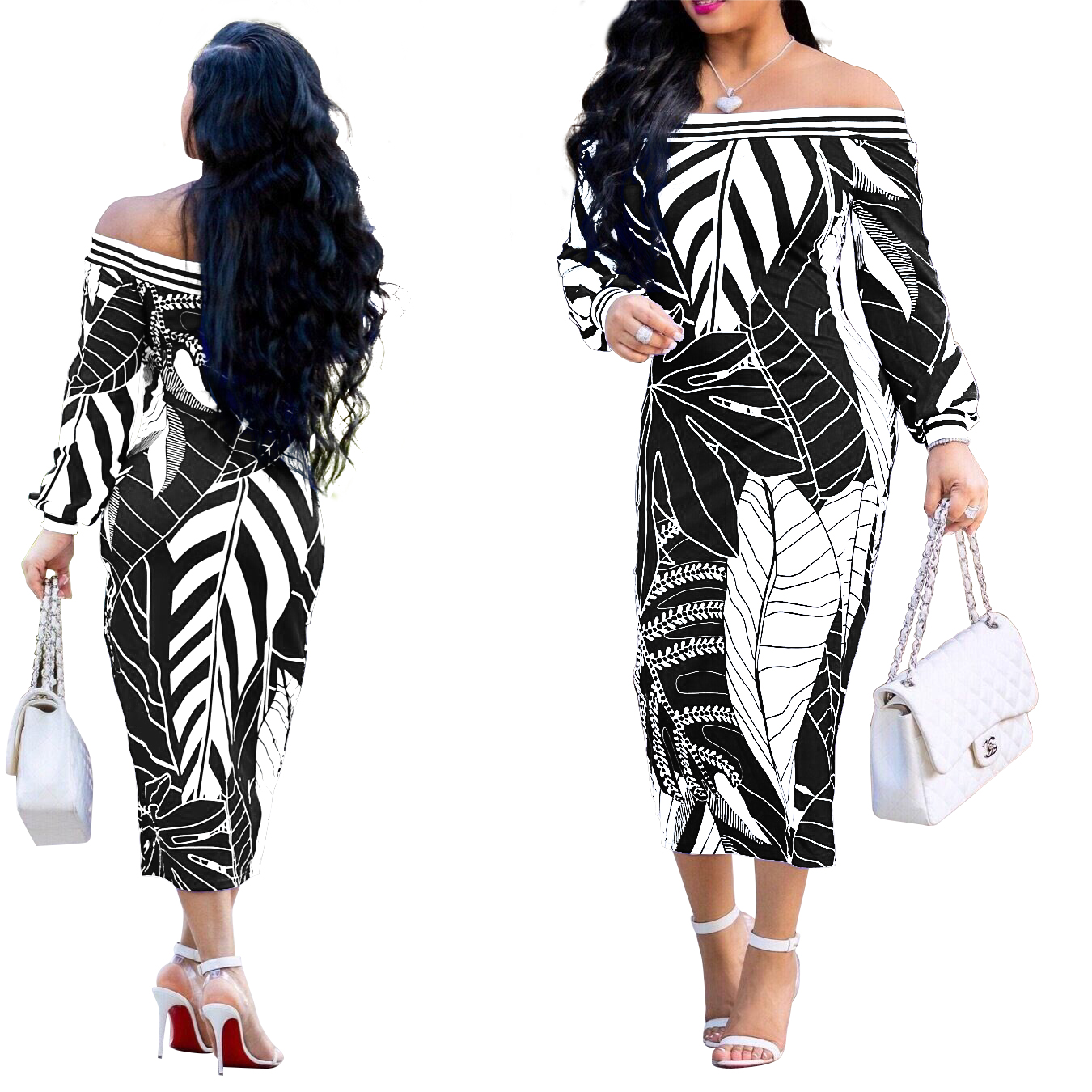 2019 new listing fashion European and American sexy women's printed wrap dress