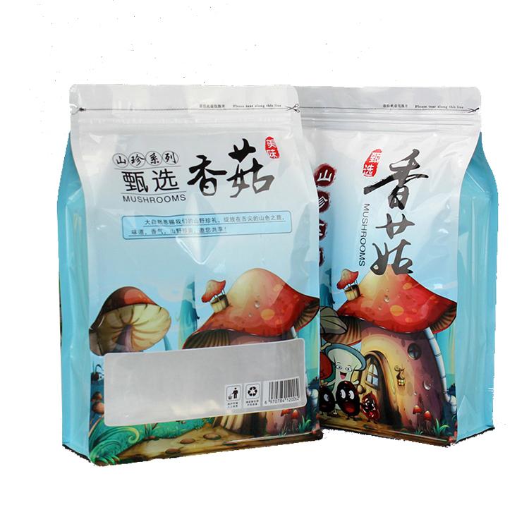 China Hersteller Liefert Transparente Fenster Kunststoff Tasche Lagerung Lebensmittel Tasche Verpackung Von Acht Rand Abdichtung