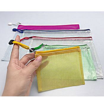 A4 Size Zipper Water-resistant PP Zipper File Mesh Document Bags with Label Pocket Organizer for Term Papers