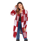 Autumn Turn-down Collar Plaid Striped Sexy Ladies Long Sleeve Cardigan Cashmere Sweater Coat