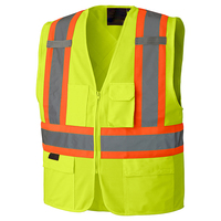 High Visibility Zipper Front Safety Vest With Reflective Strips Hot Sale Bright Neon Color Motorcycle Reflective Vest