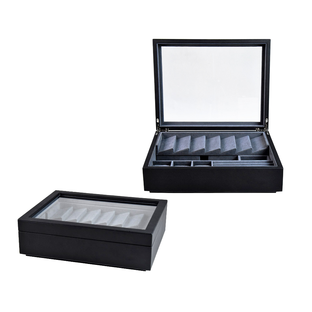 Custom luxury large wooden leather jewelry storaging display box