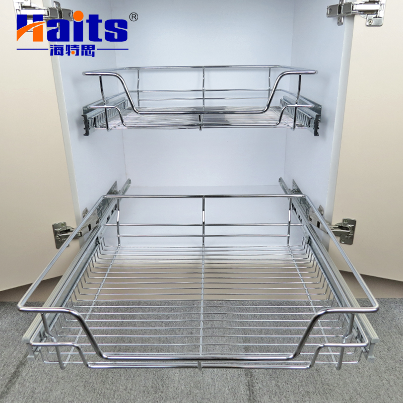 German Style Multiple Dimension Kitchen Wire Basket with Drawer Slide
