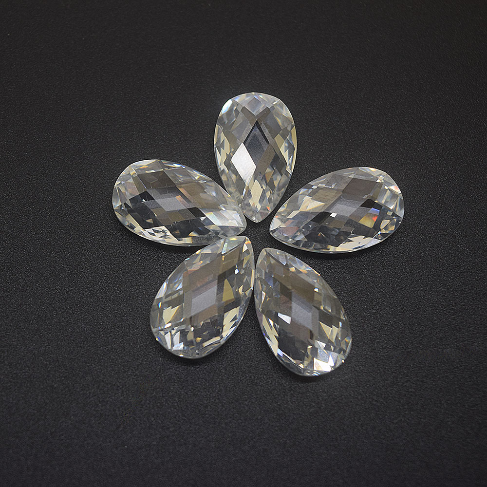 Wholesale <strong>Pear</strong> Double Checkerboard Cut Cubic <strong>Zirconia</strong>