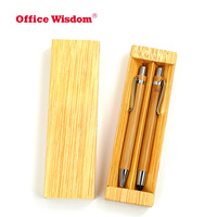 Bamboo pen set Big Bamboo Stylus ballpoint pen and mechanical pencil with metal clip ECO promotion gift pens
