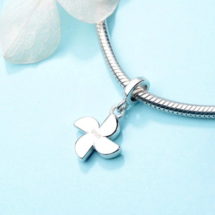 wholesale windmill charm 925 sterling silver enamel colorful charms for bracelet making