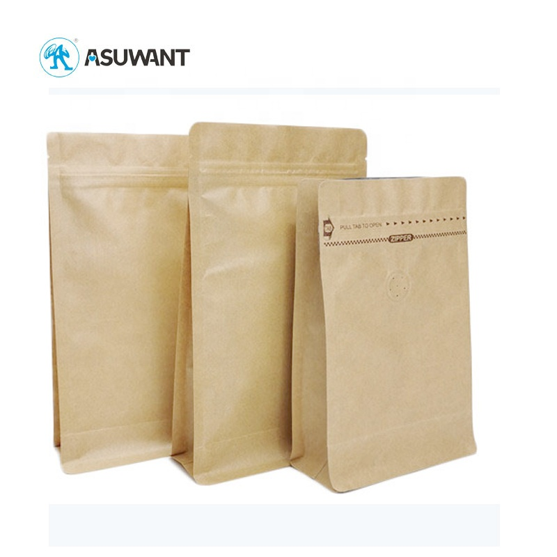 Quality Seal Flat Bottom Ziplock Kraft Paper Bag with Clear Window and Zipper Pouches