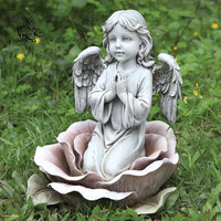 Garden decoration beautiful art handcarved stone angel sculpture marble Cherub pray statues for sale MSD-244