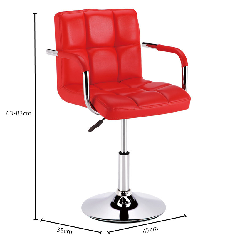 High quality commercial furniture Fashion design red PU leather metal base rotating bar chair