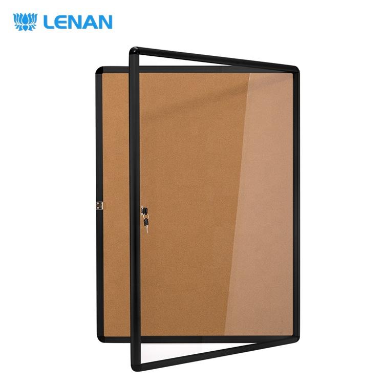 Standard bulletin board sizes wall mounted lockable notice board enclosed cork bulletin board with lock