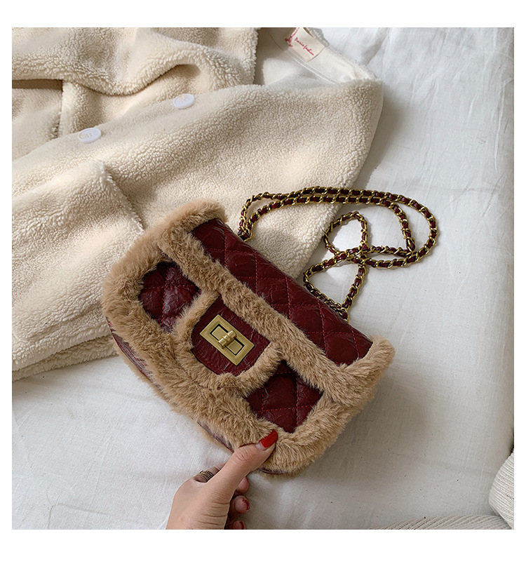 Wool bag European and American fashion Lingge chain bag Korean small fragrant One Shoulder Messenger Bag