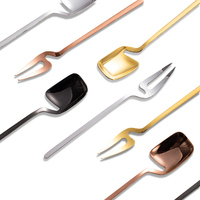 Stainless Steel Fruit Salad Dessert Spoon Metal Yogurt Ice Cream Honey Stirring Hanging Cup Spoon