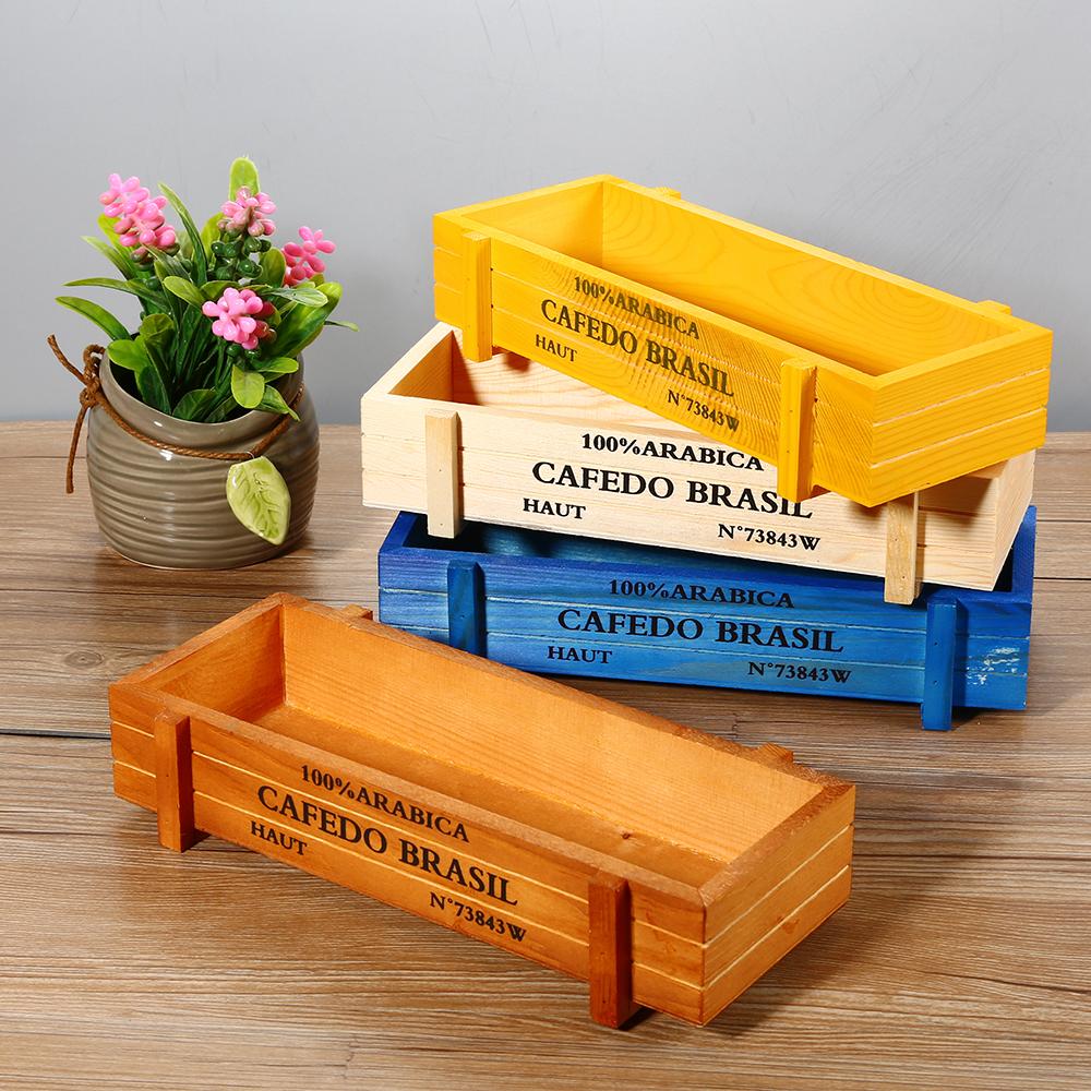 Пользовательские деревянные суккулентные растения мясистый цветочный горшок держатель коробка декоративные контейнеры настольные деревянные цветочные плантаторы поднос