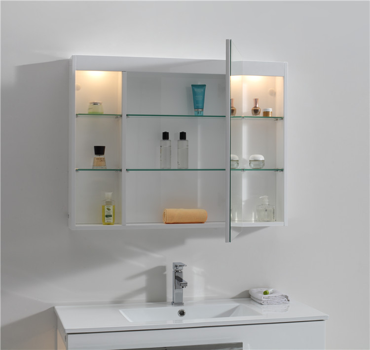 Custom Design Space Saving Turkish Style Upper Bathroom Cabinet With Mirror Unit