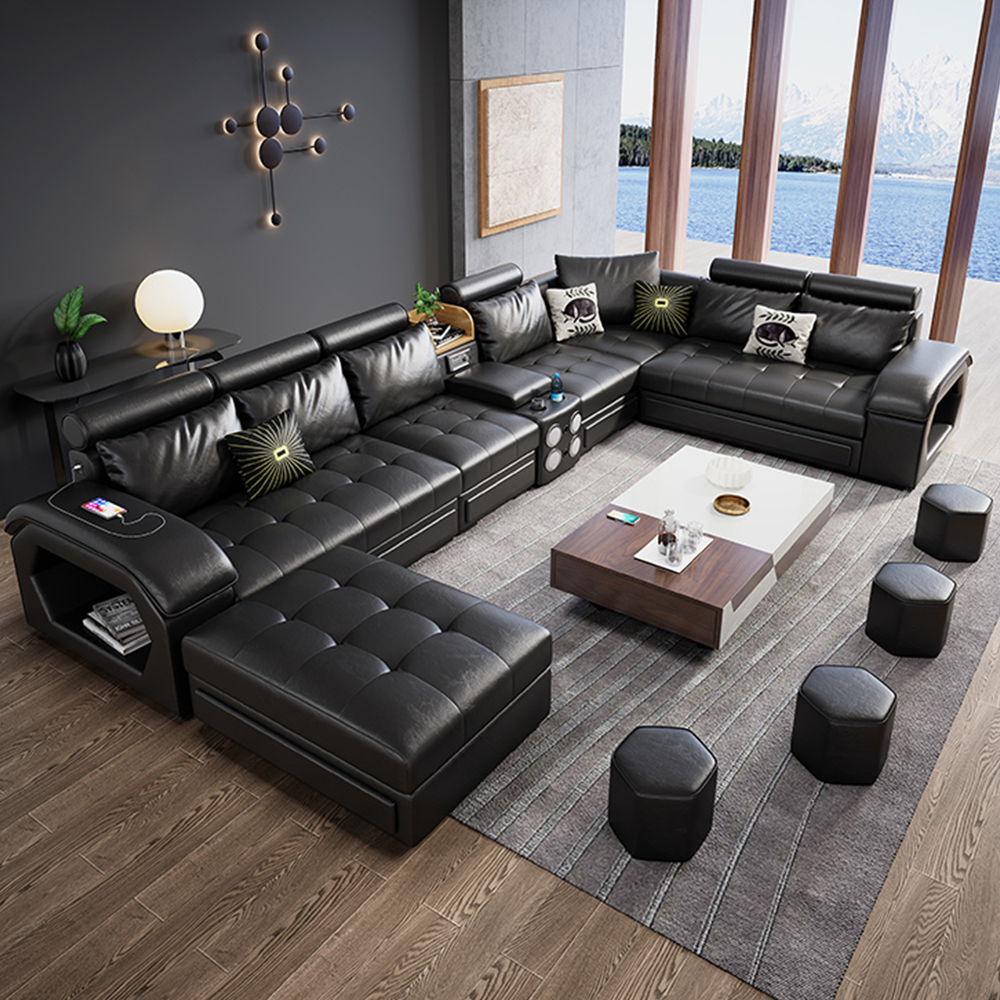 Guandong factory sales wholesale U shaped Leather fabric living room sofa set designs