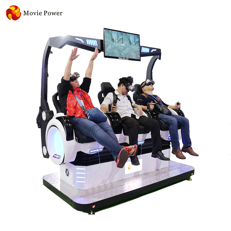Virtual Reality simulation rides 3 seats 9d 360 vr cinema motion Chair Shooting Interactive Games <strong>For</strong> Shopping Mall And Fun City