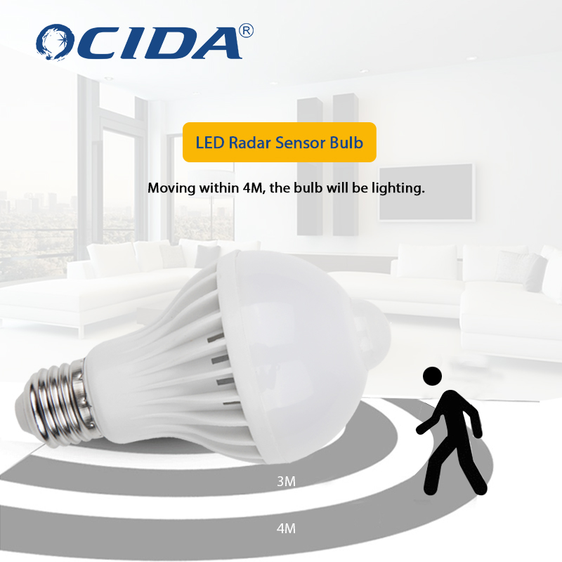 Пассивный инфракрасный датчик движения светодио дный ночник, 5 Вт, 7 Вт, E27 индукция инфракрасного света смарт-лампа для чрезвычайных канал