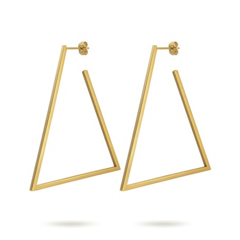 Fashion Jewelry Geometric Big Triangle Earrings Gold color Stainless steel Long Drop Earrings Earings Wholesale BE171033