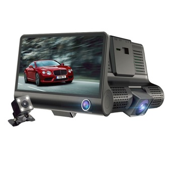 Hot selling Dual Lens  Full HD 1080P car cam 170 Degree Wide Angle Dash Cam 4.0''Three-way Car Camera T319