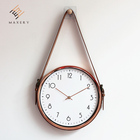 Decorative wall clock with leather strap