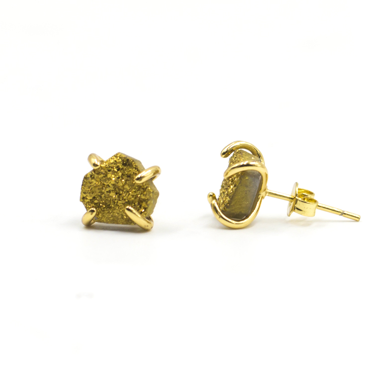 2021 wholesale fashion handmade gold pated pentagon shape druzy agate stone earrings for women