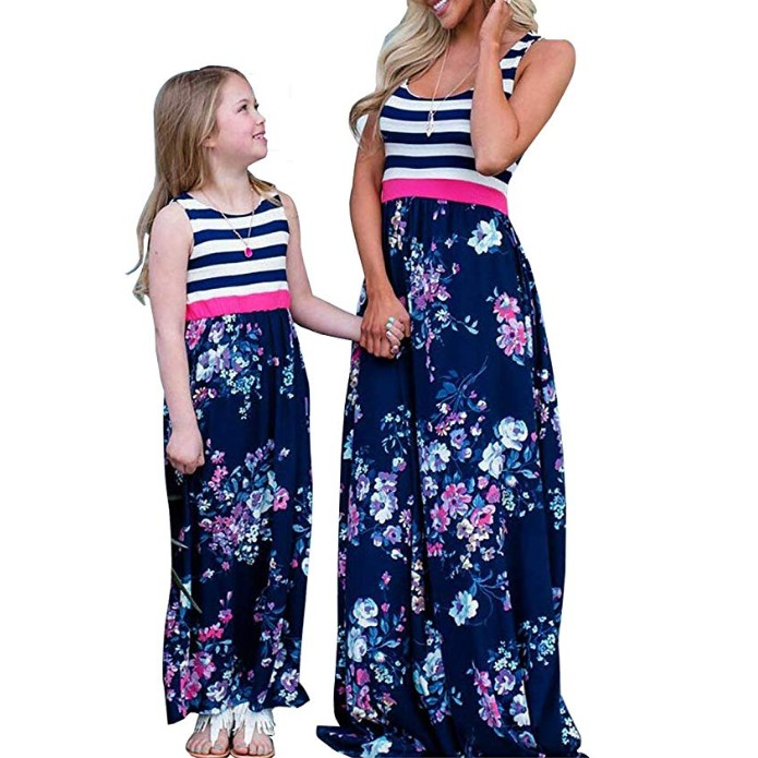 Mommy and Me Matching Dress Daughter and Mom Maxi Dresses Sleeveless Floral Printed Family Matching Outfits for Girls Mother