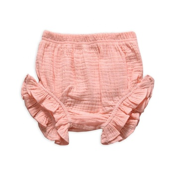 Girl Clothing Baby Clothes Newborn Baby Clothes Solid Pink Double Gauze Baby Bloomers