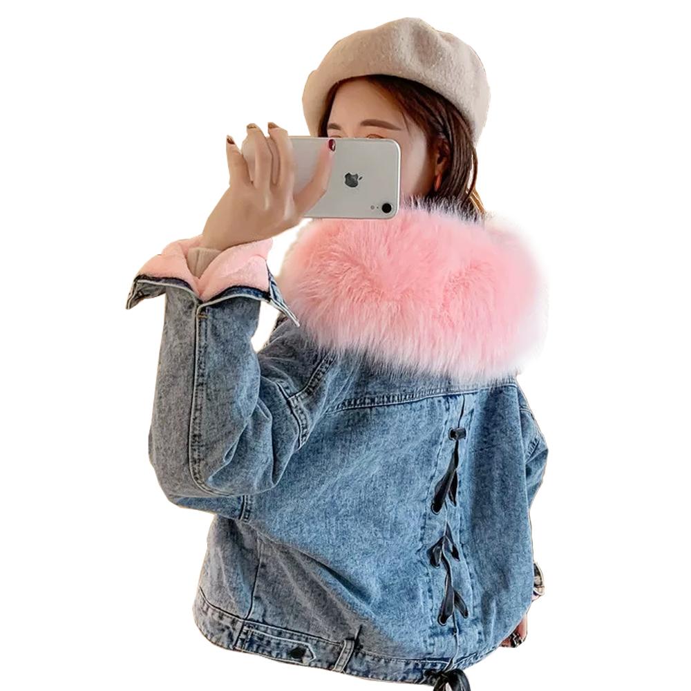 2020 Neuankömmling Lady Warm Winter Farbe Pelz Inner Denim Coat Maßge schneider ter Damen mantel
