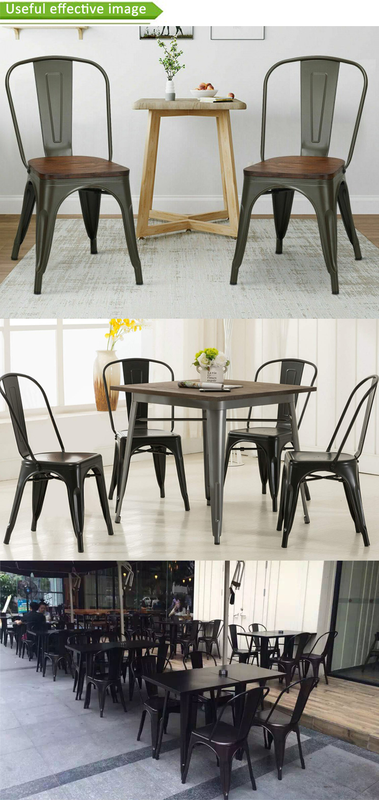 Popular Cheaper Price Powder Coating Commercial Furniture restaurant vintage Industrial metal dining chair