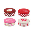 Christmas Valentine Decorative Gift Metal Storage Container Round Chocolate Cookie Candy PaintedTin Box Can
