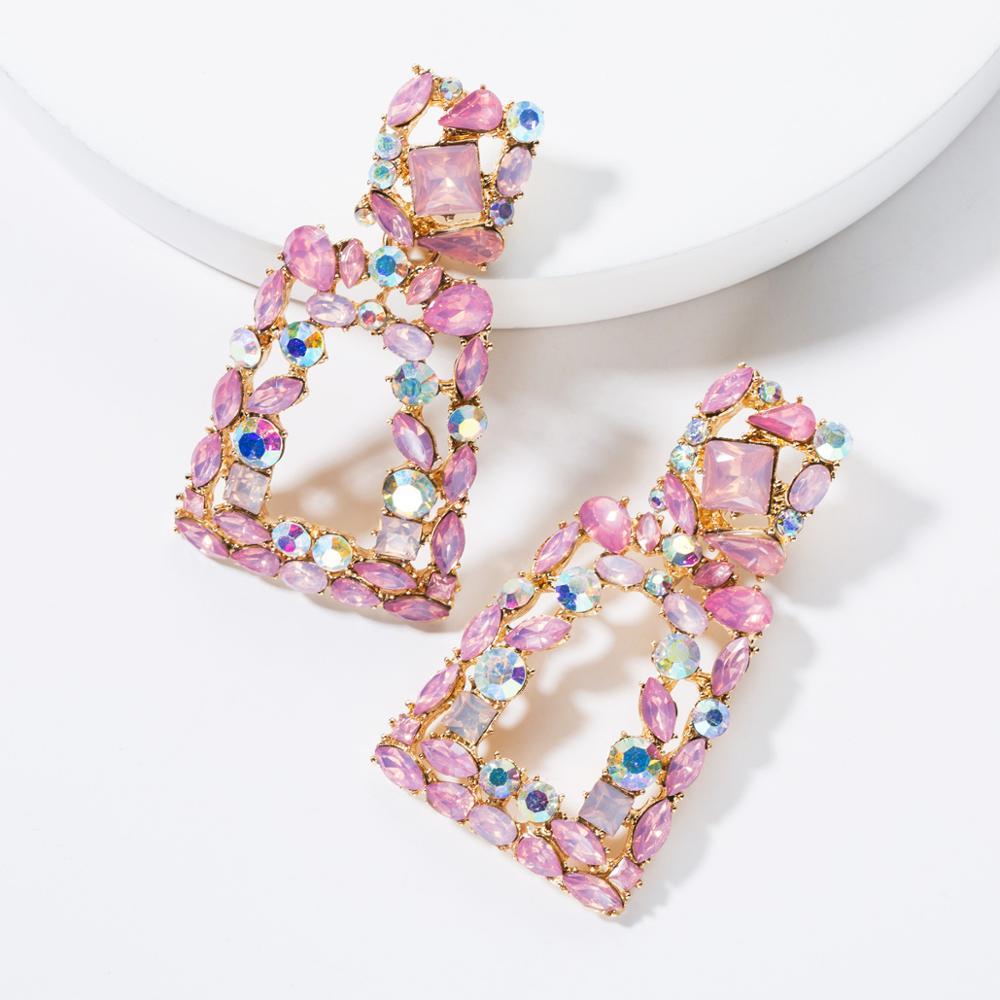 Fashion Vintage Alloy Big Pink Trapezoidal Acrylic Diamond Rhinestone Gold Geometric Earrings Jewelry For Girls