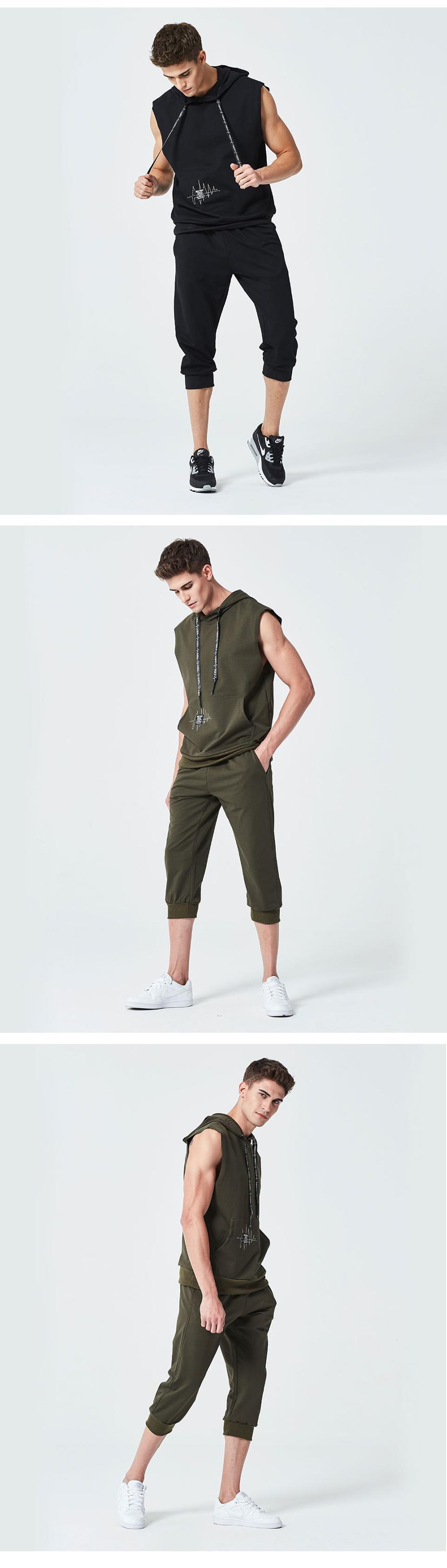 Wholesale mens short sets sleeveless hooded hoodies with drawstring and 2 piece set men clothes for men running