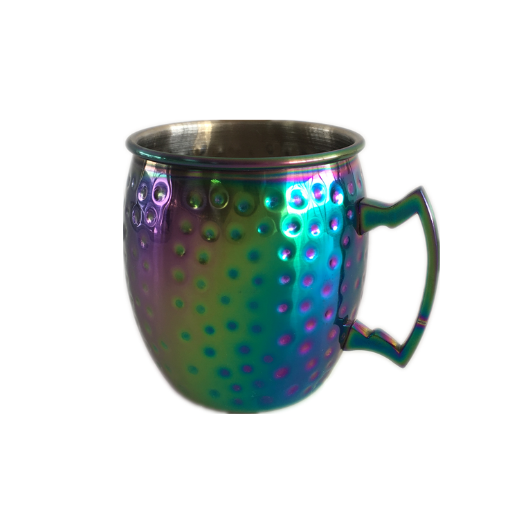 Wholesale Custom 304 Stainless Steel Colorful Plated 16Oz Hammered Moscow Beer Mug 500Ml Milk Coffee Drinking Copper Mule Cup