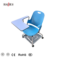 Blue Color Plastic Chairs Folding Training Chair With Castors Writing Board Table