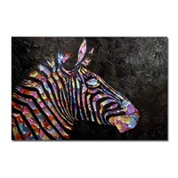 Animal head Pictures Modern Semi Abstract Colorful Zebra Oil Painting