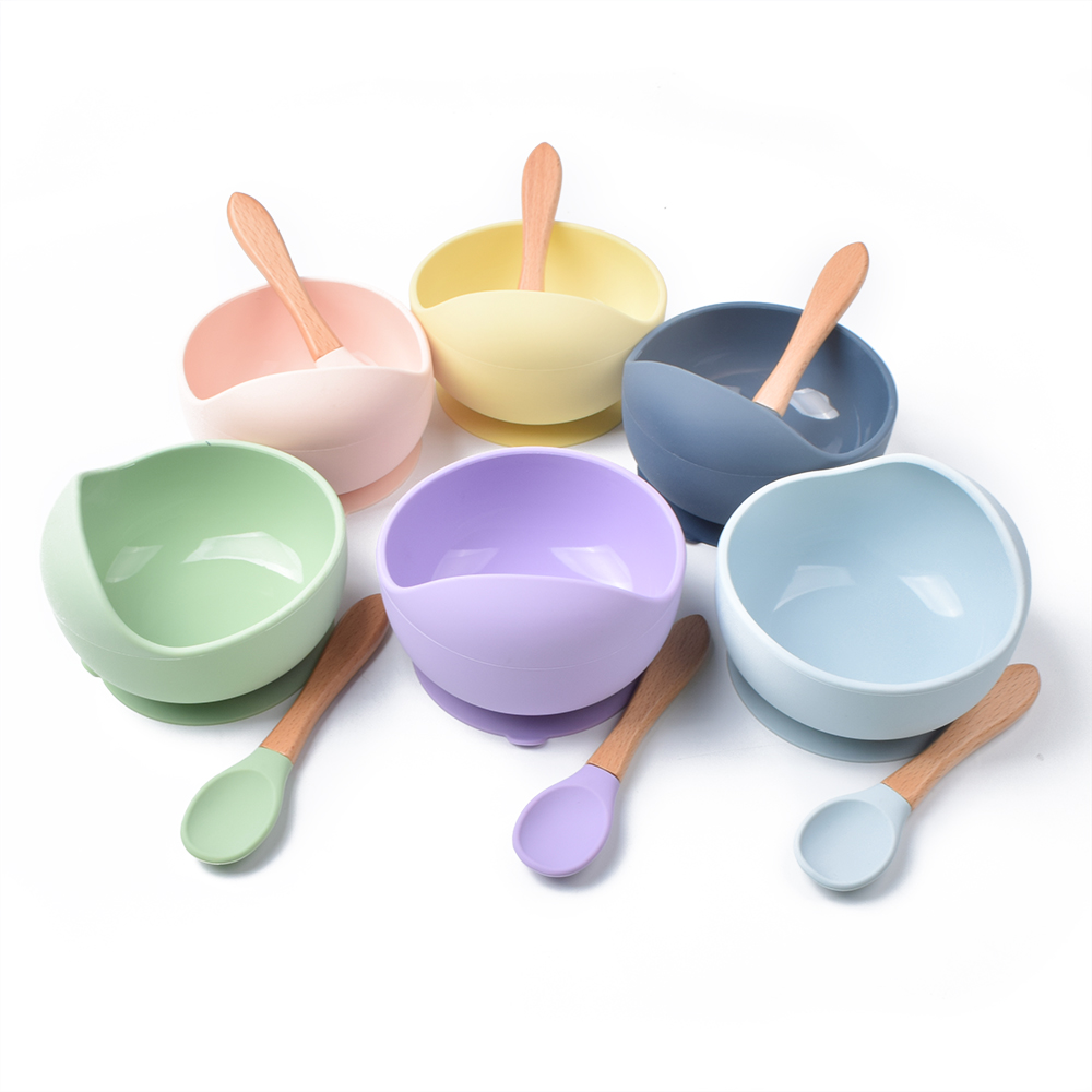 Custom Stay Put Suction Spill Resistant Baby Funny Kids Food Silicone Feeding Bowl With Spoon For Toddler Infant Kids Children