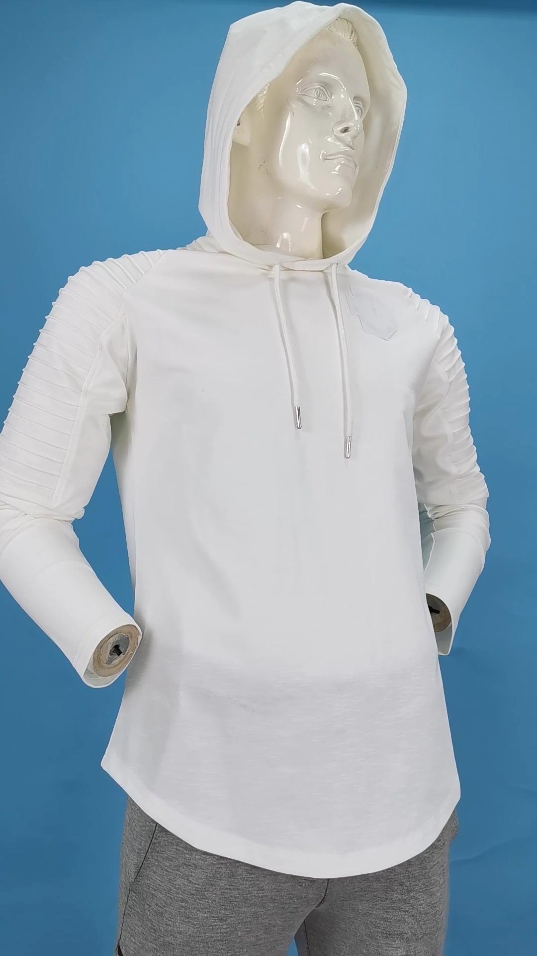 OEM factory men's sportswear fitness muscle fit pullover custom gym hoodies pleated