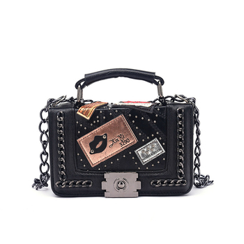 Fashion Ladies Chain Lips Vegan Leather Messenger Crossbody Shoulder Bags for Women Purses and Handbags Travel Bag