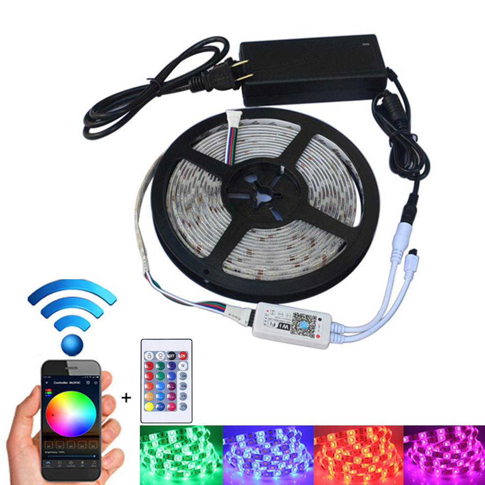 Amazon Google Home Wifi IP65 Flexible Waterproof LED Strip Light Bluetooth Strip LED Light RGB For Home Decoration