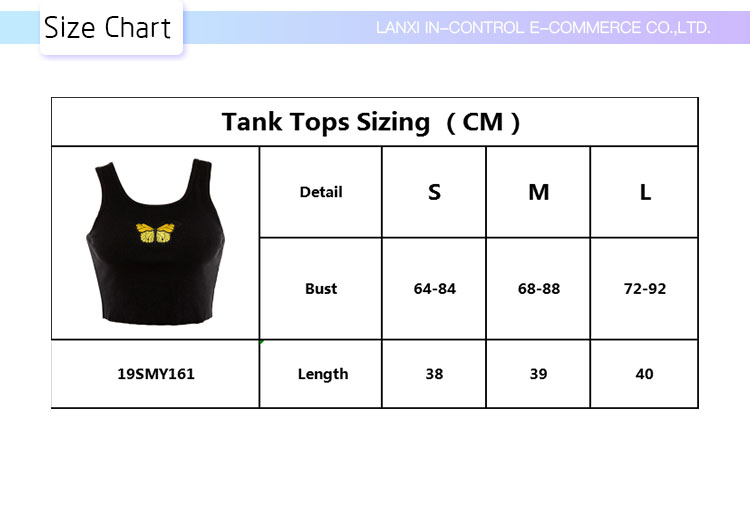 2019 Wholesale Lightweight Stretch Rib Quick Dry Embroidery Butterfly Sleeveless Women Sport Crop Tank Top